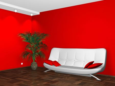 Interior design of modern white couch on red wall background Stock Photo - 6599051