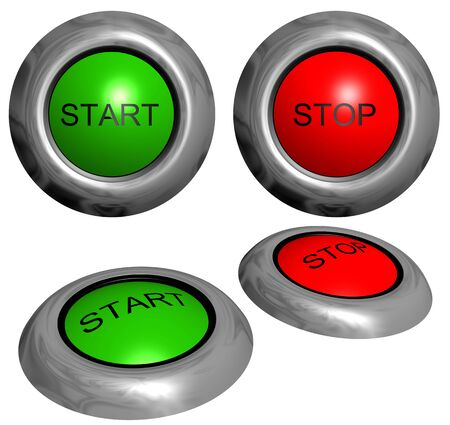 stop button: Green start button and red stop button on white background