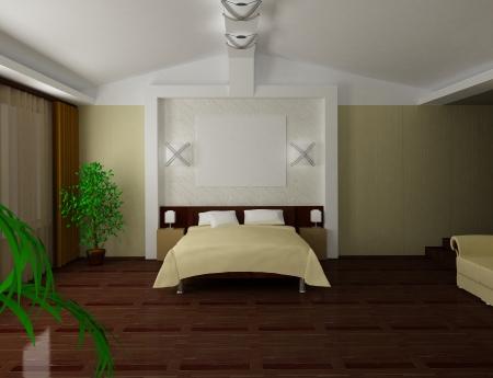 Modern bedroom inter 3d render Stock Photo - 24657561