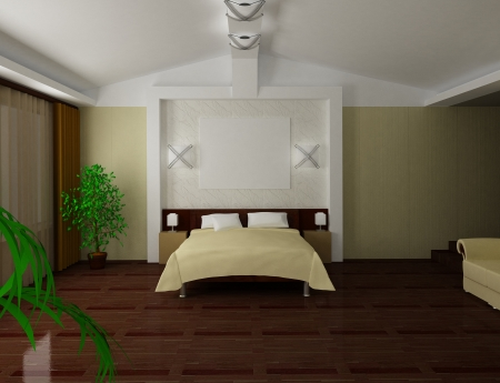 Modern bedroom interior 3d render Stock Photo - 24657561