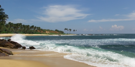 Tropical beach on Sri-Lanka, Indian ocean photo
