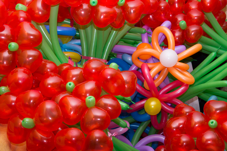 Colorful  flowers maden of baloons background