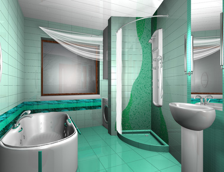 showhome:  Luxury Modern Bathroom Interior in aqua colors