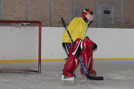 goalie: Ice hockey goalie training Stock Photo