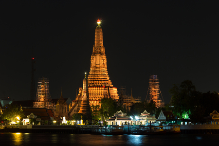 all in one: AroonRatchWaRaRam Temple is one of all Landmark in Bangkok. Stock Photo