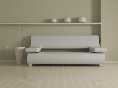 biege: Interior design of modern beige couch on biege wall background. Stock Photo