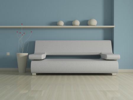 indoor background: Interior design of modern beige couch on blue wall background.