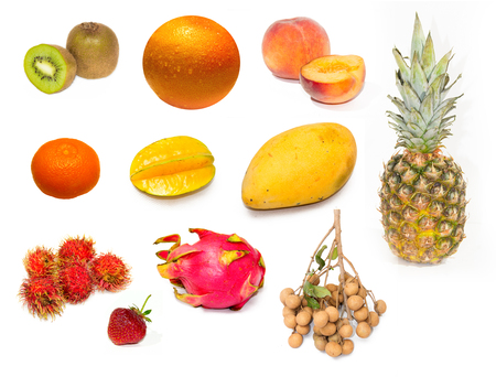 dragonfruit: Set of fresh fruits over white background kiwi, orange, peach, starfruit, mango, pinaple, dragonfruit, rambutan, longan Stock Photo