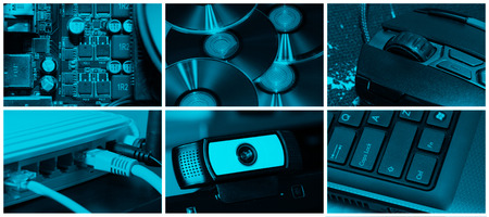 colección o un collage de tecnología y el tema del ordenador