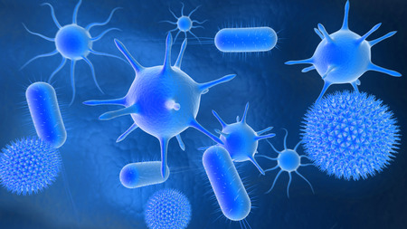 microcosmic: 3D illustration of bacteria background Stock Photo