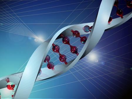 medical illustration: Medical illustration of the human genes or DNA