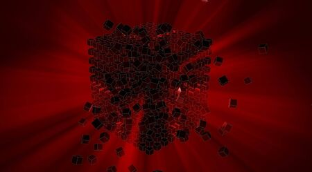 blacks: Abstract 3d background of red cubes or blacks with dark background and red rays explosion