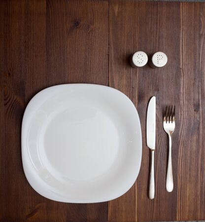 Dinner table with dinning plate, fork and knife.