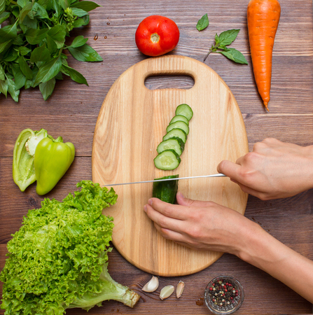 Healthy food and ingredients on rustic wooden background