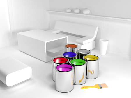 Paint cans in white uncolored interior Stock Photo