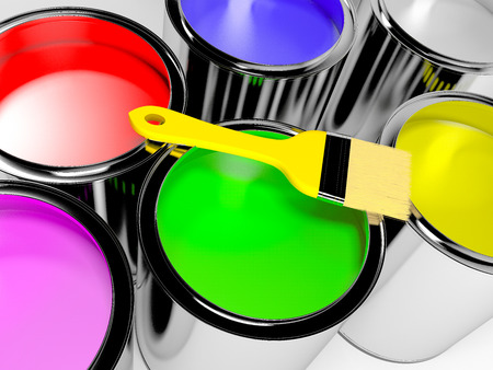 Paint cans with different colors and brush Stock Photo
