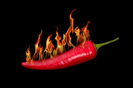 Red hot chili pepper burns on black background