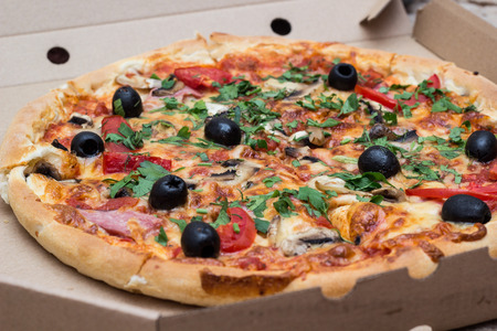 Pizza with mashrooms and chiken and olives