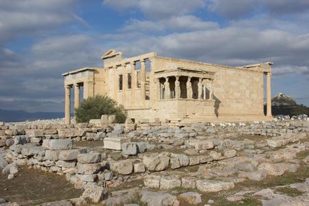 Cariathides of the erechtheion acropolis, Athens. Stock Photo