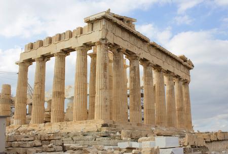 Antique temple called Parthenon on the Acropolis in Athens, Greece. Stock Photo