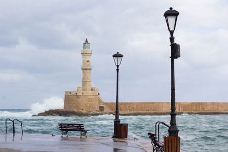 Light house and lanterns - Chania Crete-Greece. Stock Photo
