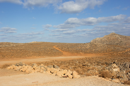 Dry and hot plateau in Crete island, Greece. Autumn, October Stock Photo