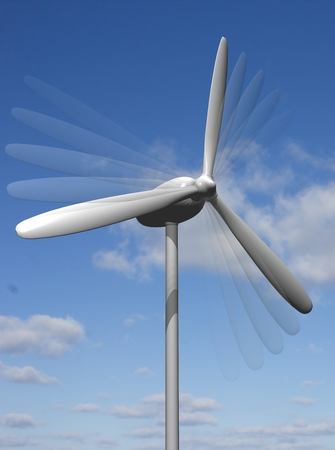 white wind turbine generating electricity on blue sky. Stock Photo