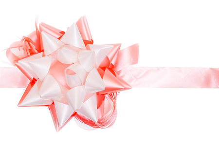 Bright gift bow isolated on white background Stock Photo
