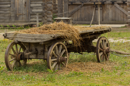 Vintage old rough wooden horse cart, rustic retro transport Stock Photo