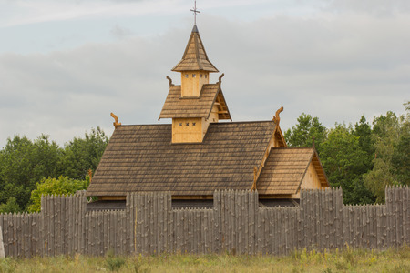 Vintage reconstructed wooden fortress in Ukraine. Oute view.