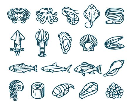 Set of seafood, fish and sea animals vector isolated icons