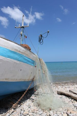 boat at the port, the fish fresh fish in Sicily Italy