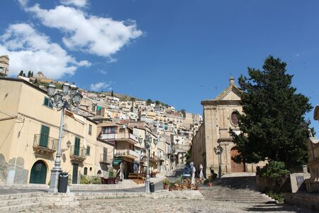 artistic monument village fountain, in the historic area, Sicily Italy photo