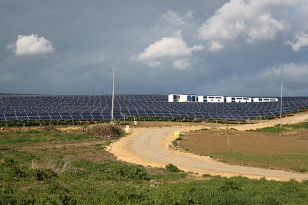 An array of solar panels making up South Australia's largest Solar Power Station. Situated in the Flinders Ranges. photo
