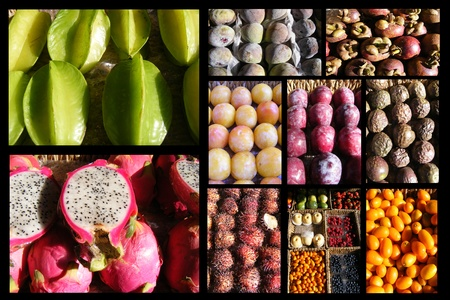 Collage of tropical fruits isolated on a white background Stock Photo - 10949840