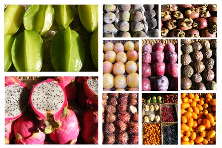 Collage of tropical fruits isolated on a white background photo