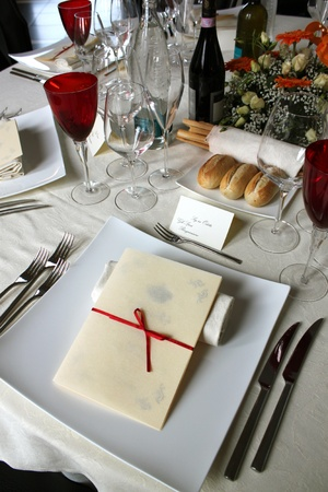 Beautifully decorated table in the restaurant , Italian