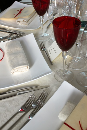 Beautifully decorated table in the restaurant , Italian photo