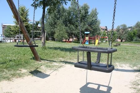 A big colorful children playground equipment. photo