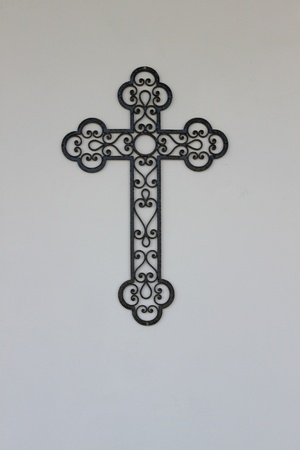 iron works: Parts of the cemetery (statue and crosses)in Piedmont,Italy