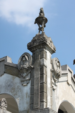 Parts of the cemetery (statue and crosses)in Piedmont,Italy photo