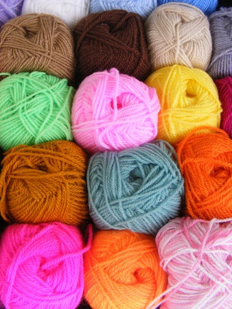 Fabric accessories for retail haberdashery,balls of wool  photo
