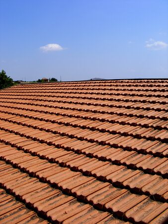 Pattern of old Italian roof tails   Italy photo