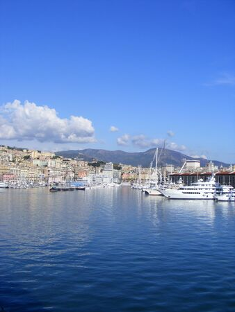 Panoramic view Liguria sea coast,Genoa port  Stock Photo - 12367202