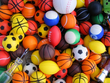 small group of objects: Color plastic balls for games  Stock Photo
