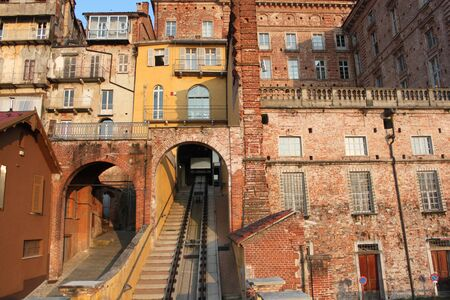 Funicular in the town center, Piedmont, Italy  photo