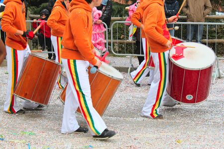 carnival drummers band during a parade in Venice during the Carnival days  photo