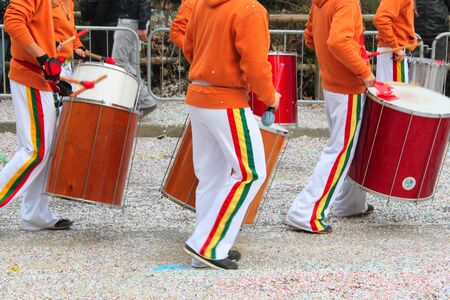 carnival drummers band during a parade in Venice during the Carnival days Stock Photo - 13786676