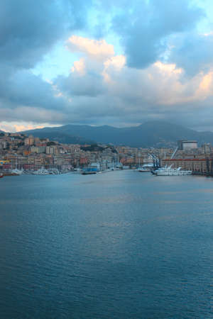 Panoramic view Liguria sea coast,Genoa port  photo