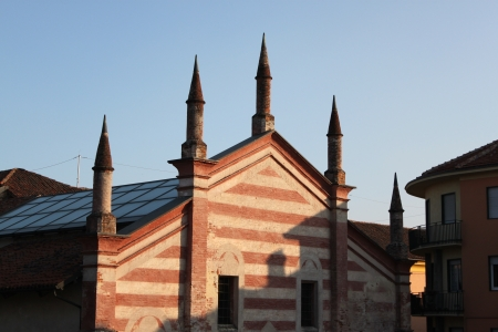 Perspective,view of an old gothic style cathedral christian catholic church  photo